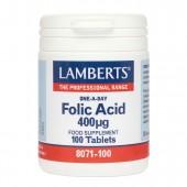 Lamberts® Folic Acid 400µg (100 Tablets)